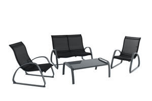 Silvertree Alu-Lounge-Set Fynn 4-teilig, grau/schwarz