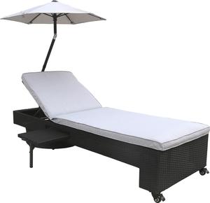 Silvertree Sonnenliege Samuel mit Schirm, Ablage & Auflage, schwarz