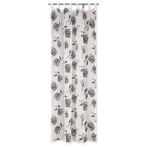 Schlaufenschal SILAS - schwarz-weiß - Rosen - 135x245 cm