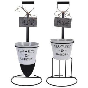 Blumentopfständer - weiß-schwarz - sortiert