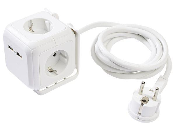 POWERFIX® Steckdosenwürfel mit USB-Ports