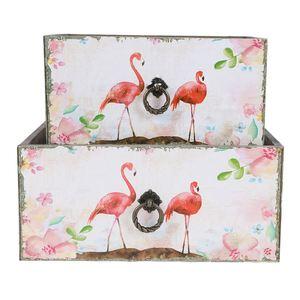 Dekokisten aus Holz Flamingo 2er-Set