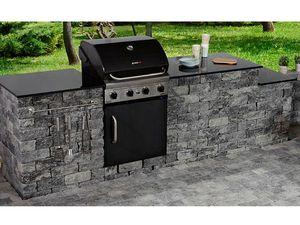 EHL Outdoor-Küche / Outdoor-Kitchen Set aus Antikmur-Mauerblöcken & Granit-Abdeckplatte