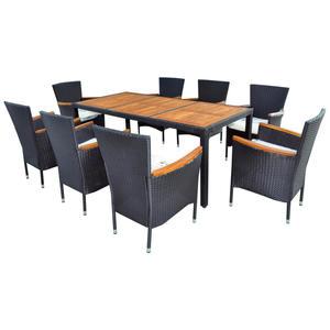 XXXL GARTENSET Akazie mehrschichtige Massivholzplatte (Tischlerplatte), teilmassiv Stahl, Weiß
