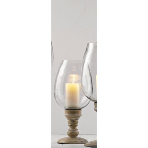 casaNOVA Kerzenhalter /Windlicht H 44 WOODEN GLASS Braun/Klar