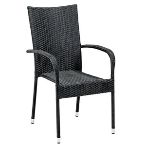 Gartenstuhl JOSE stapelbar Kunststoffgeflecht schwarz