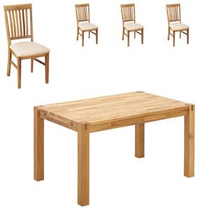 Essgruppe Royal Oak (140x90, 4 Stühle, beige)