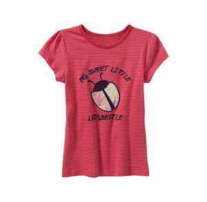 Kids Mädchen-T-Shirt mit Marienkäfer-Stickerei
