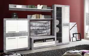HARDi - Wohnwand Atrium in Betonoptik/weiß Hochglanz