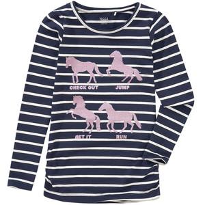 Mädchen Langarmshirt mit Pferde-Print