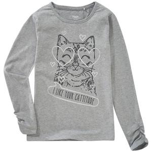 Mädchen Langarmshirt mit Katzen-Print