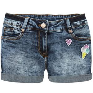 Mädchen Jeansshorts mit Pailletten-Badges