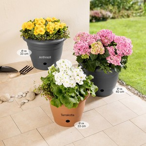 """Powertec Garden Blumentopf """"Flora"""", Ø ca. 40 cm, Anthrazit - 2er Set"""