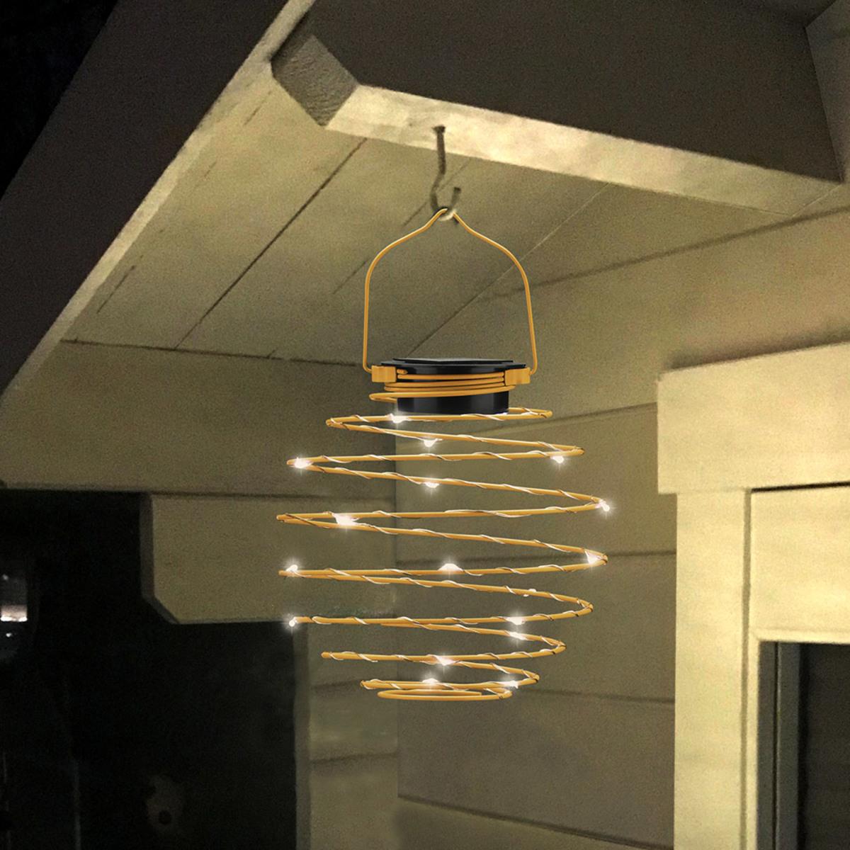 Bild 2 von EZSolar LED Solar Spiral-Lampion, Ø 22cm, Gelb