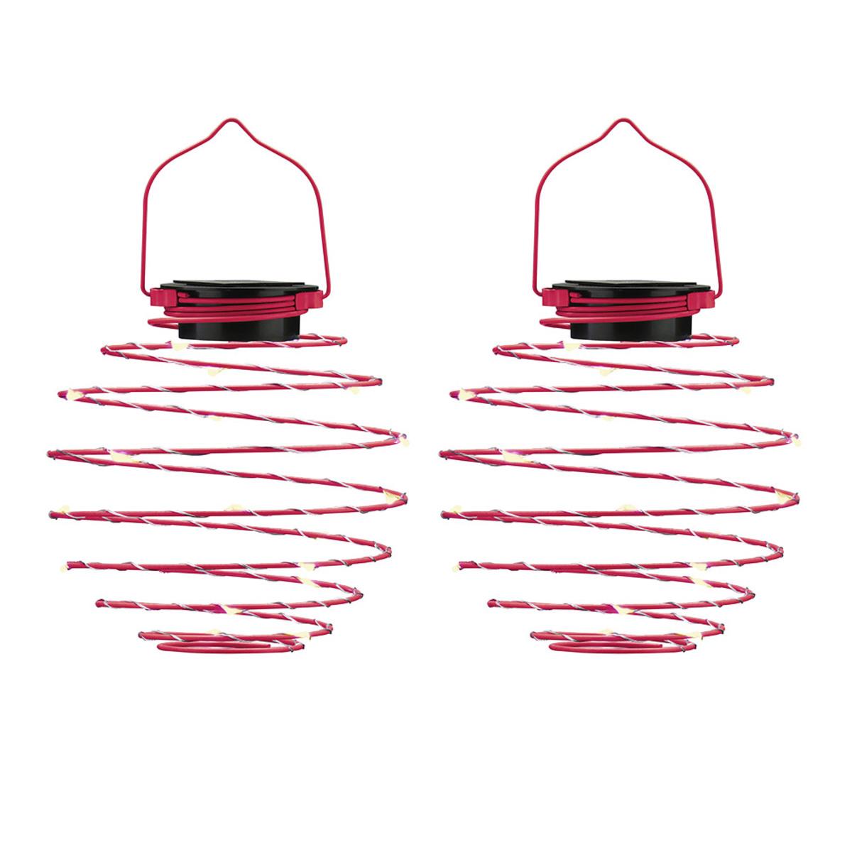 Bild 1 von EZSolar LED Solar Spiral-Lampion, Ø 12cm, Pink - 2er Set
