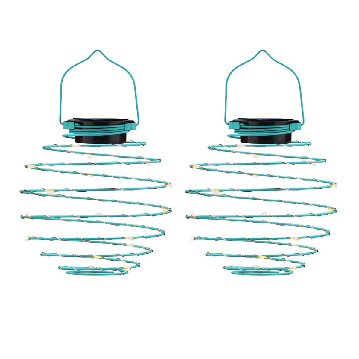 Bild 1 von EZSolar LED Solar Spiral-Lampion, Ø 12cm, Blau - 2er Set