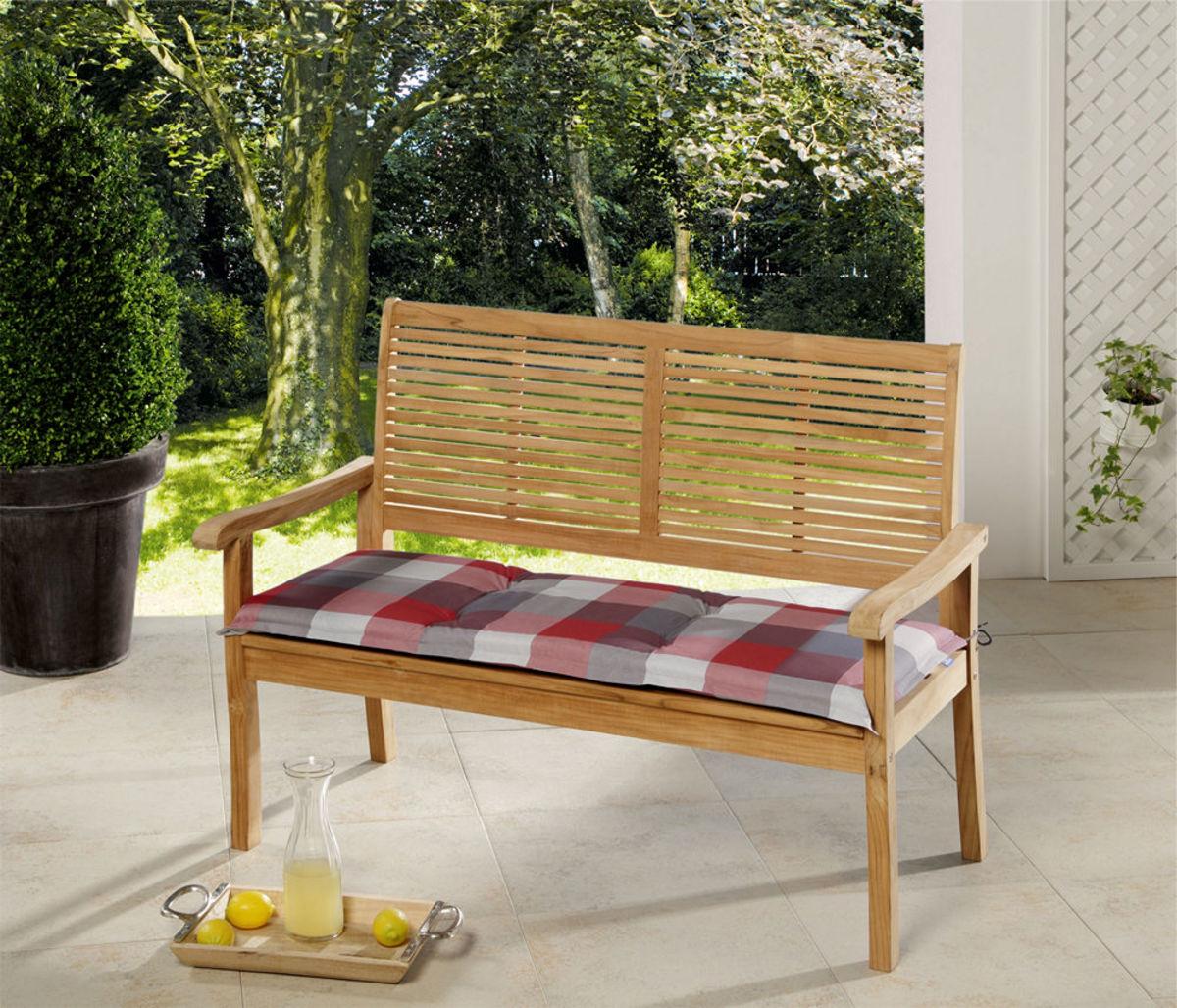 Bild 1 von Solax-Sunshine Sitzbank-Auflage, Karo Rot-Grau