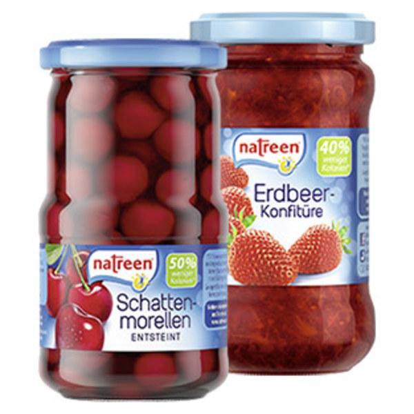 Natreen Konfitüre Erdbeer oder Schattenmorellen und weitere Sorten, jedes 225-g-Glas/jedes 370-ml-Glas/ 185-g-Abtropfgewicht