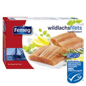 Femeg Wildlachsfilet gefroren, jede 250-g-Packung