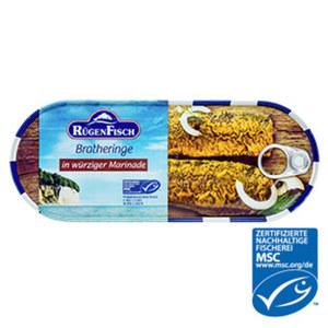 Rügenfisch Brathering in würziger Marinade,  jede 500-g-Dose/300 g Abtropfgewicht