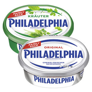 Philadelphia Deutsche Frischkäsezubereitung 70 % Fett i. Tr./14 % Fett absolut versch. Sorten, jede 265-g-Schale