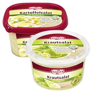 Nadler Kartoffelsalat mit Gurke und Ei oder Krautsalat und weitere Sorten, jede 500/400g-g-Packung