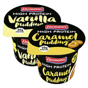 Ehrmann High Protein Pudding Caramel, Vanilla oder Chocolate, jeder 200-g-Becher