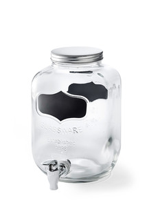 Getränkespender aus Glas mit Zapfhahn
