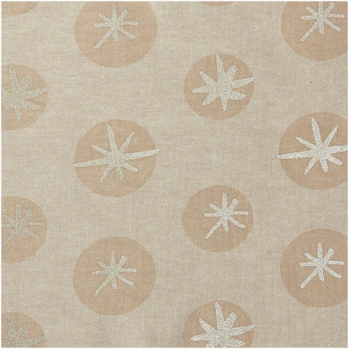 Bild 1 von Rico Design Stoff Leinenoptik Schneeflocken natur-gold 50x140cm