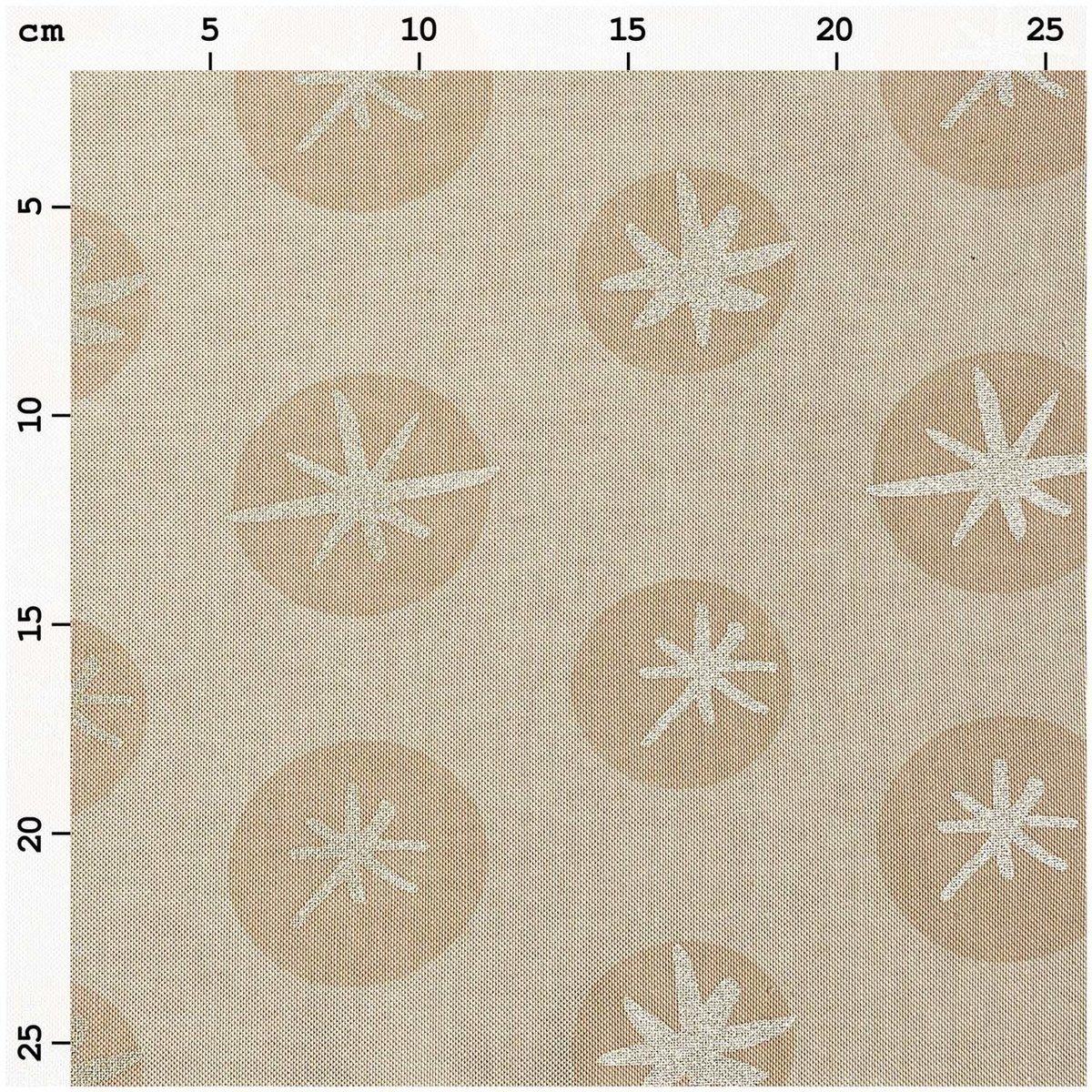 Bild 3 von Rico Design Stoff Leinenoptik Schneeflocken natur-gold 50x140cm