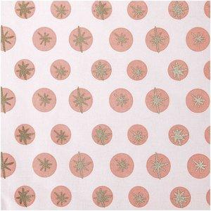 Rico Design Druckstoff Schneeflocken rosa-gold 50x140cm