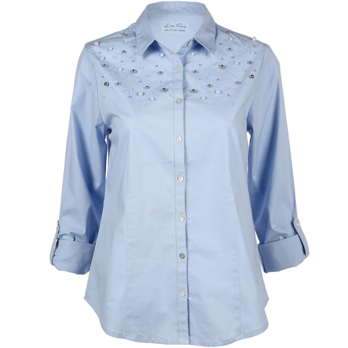 Bild 1 von Damen Chambrey Bluse mit Zierperlen