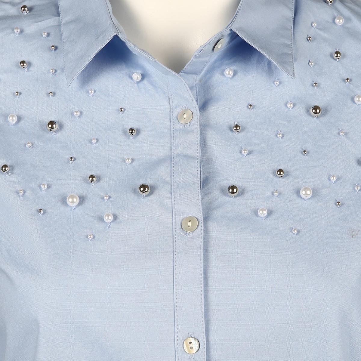 Bild 3 von Damen Chambrey Bluse mit Zierperlen