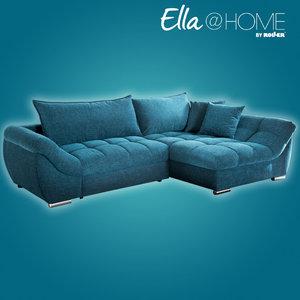 Ecksofa - blau - AQUA CLEAN®