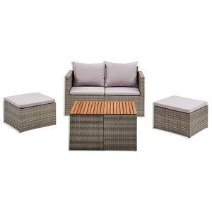 6-teiliges Gardiola Lounge-Modulset CARAVELA - grau - Akazie