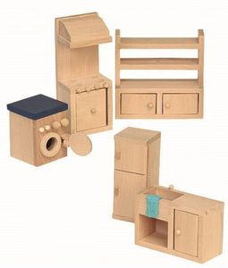 Puppenhaus Möbel - Küche 5teilig - Holz