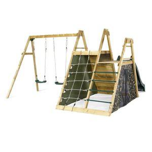 Plum - Kletterpyramide mit Doppelschaukel, Rutsche und Kletterwänden - ca. 380 x 267 x 210 cm