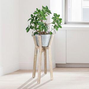 Holz-Blumenständer mit Zinktopf 25x52,5x25cm