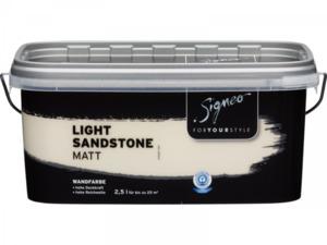 Signeo              Elegant-matte Premium Wandfarbe light Sandstone, 2,5 l