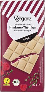 Bio Veganz Weiße RiceChoc Himbeer-Thymian, 80 g