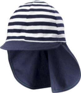 ALANA Kinder-Sonnenschutz-Mütze, Gr. 52/53, mit Bio-Baumwolle, blau, weiß, für Mädchen und Jungen