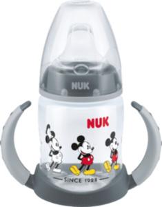 Nuk Trinklernflasche Disney Mickey mit Trinksauger aus Silikon, grau, 150ml, ab 6 Monate