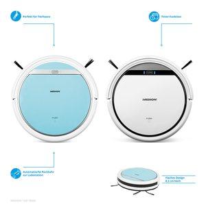 MEDION Saugroboter MD 18500, vollautomatische Reinigung, Tierhaar optimiert, bis zu 90 Min Laufzeit, selbstständige Ladefunktion, für eine Vielzahl von Böden, Timer-Funktion