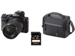 SONY Alpha 7 (ILCE-7)  Kit + Tasche + Speicherkarte Systemkamera 24.3 Megapixel mit Objektiv 28-70 mm f/5.6, 7.6 cm Display  , WLAN