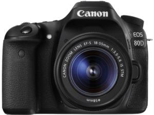 CANON EOS 80D Spiegelreflexkamera, 24.2 Megapixel, 18-55 mm Objektiv (IS, STM), Touchscreen Display, Schwarz