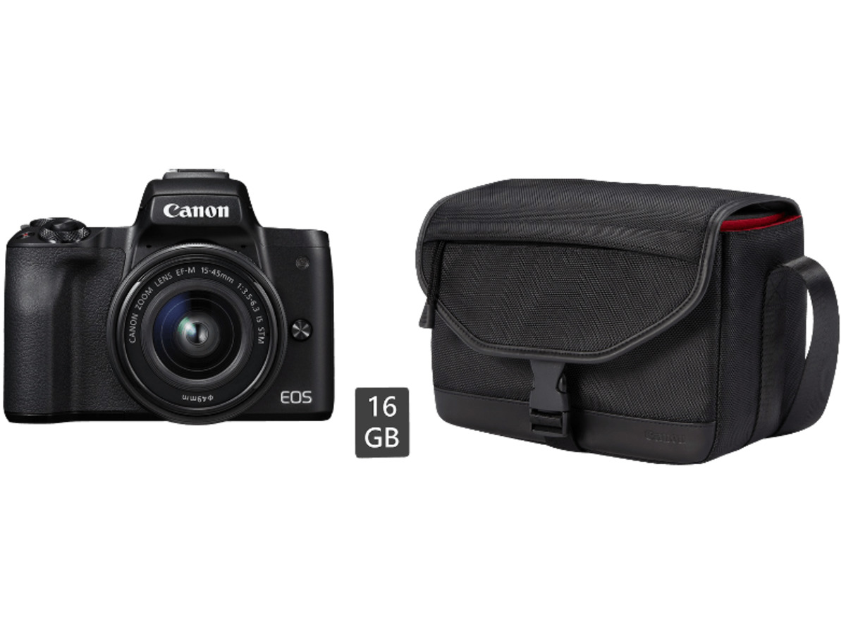 Bild 1 von CANON EOS M50 Kit Systemkamera 24.1 Megapixel mit Objektiv 15-45 mm f/6.3, 7.5 cm Display   Touchscreen, WLAN