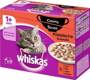 Whiskas 1+ Creamy Soups Klassische Auswahl Katzenfutter nass Multipack 12x85 g