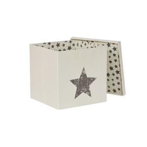 STORE IT Aufbewahrungsbox /Ordnungsbox 33 x 33 cm GREY STAR Naturbeige mit grauen Sternen