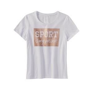 Damen-Fitness-T-Shirt mit glitzerndem Frontaufdruck