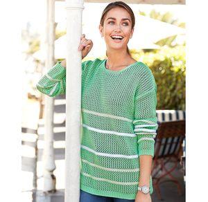 Laura Torelli Classic Damen-Pullover in grobmaschigem Design